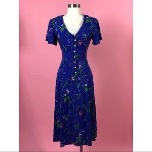 Vintage 1980 floral button up purple dress 6 S